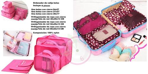 organizadores de viajes x6 piezas valija bolso portacosmetic