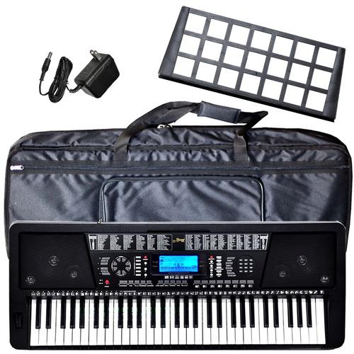 organo teclado 5/8 sensitivo + atril + fuente funda ek61208