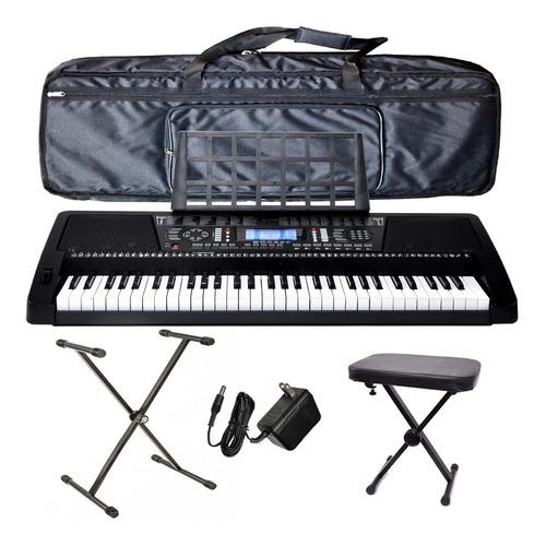organo teclado 5/8 sensitivo banco fuente pie funda ek61208