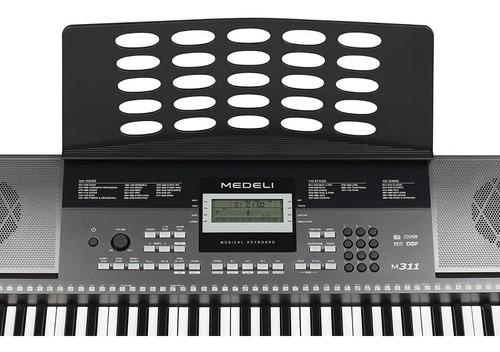 organo teclado sensitivo medeli m311 61 teclas 5/8 usb atril