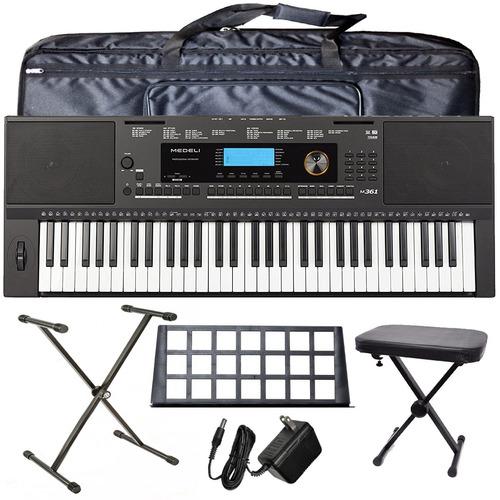organo teclado sensitivo medeli m361 pie funda banqueta pack