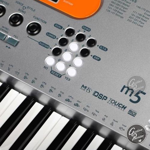 organo teclado sensitivo medeli m5 61 teclas 5/8 usb atril
