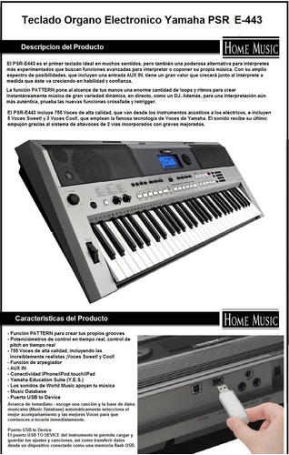 organo yamaha psr e443 piano teclado e-443