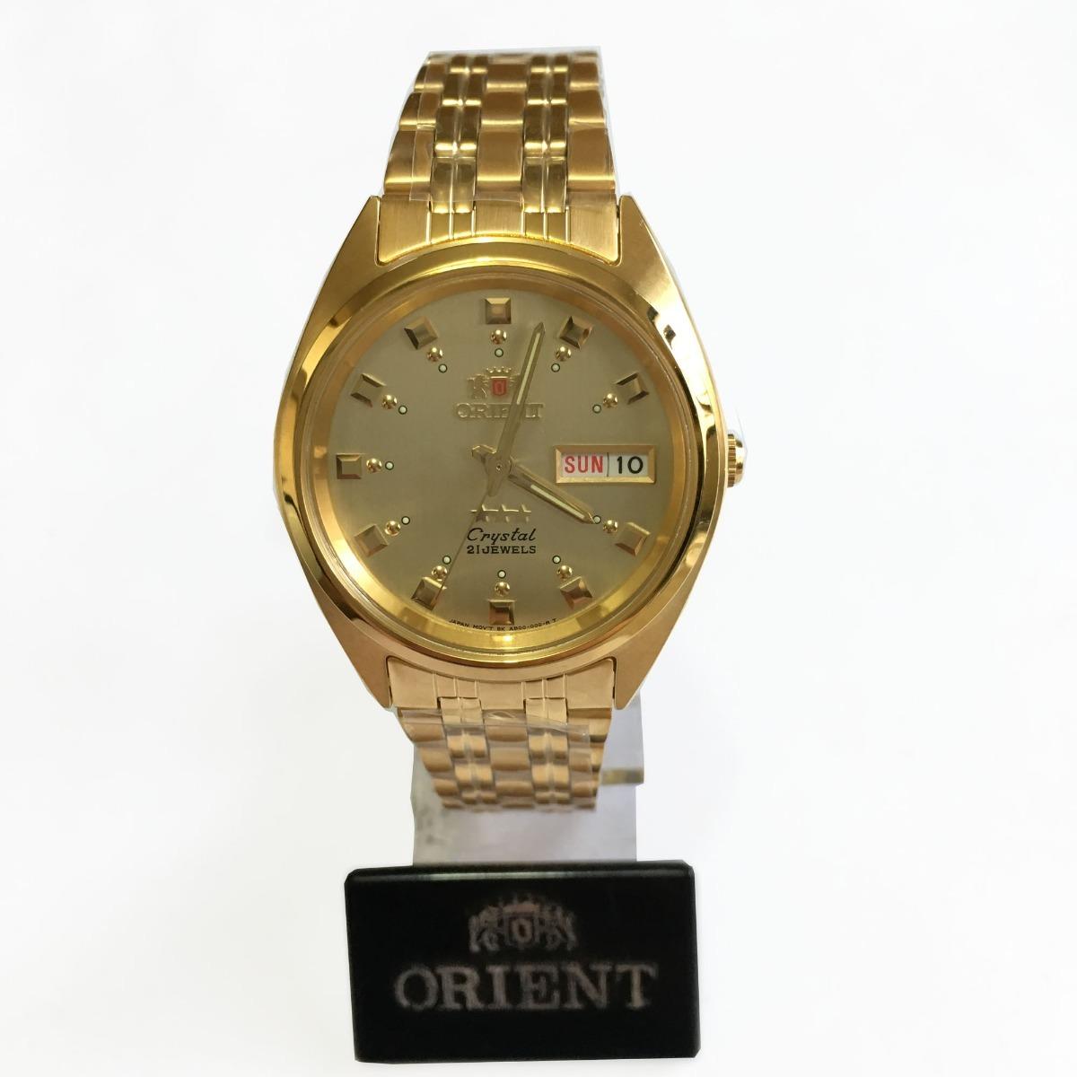 456961da98d Carregando zoom... relógio orient automatico masculino dourado original c  caixa