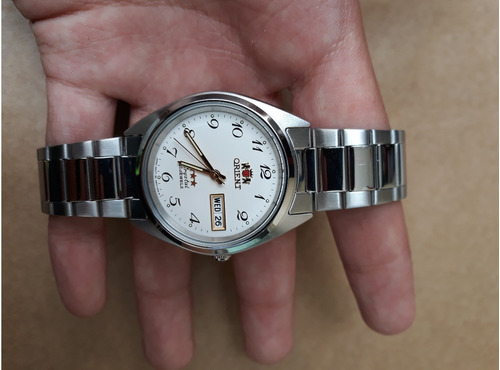 orient relógio orient automatico classico aço masculin branc