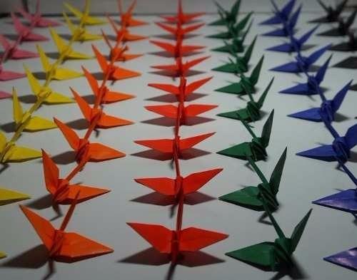 origami tsuru cores mistas 100 unidades- tamanho 10 cm