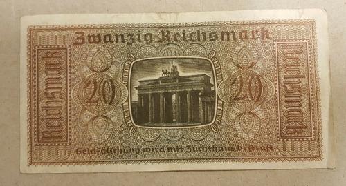 original billete de 20 marcos era nazi 2da guerra mundial