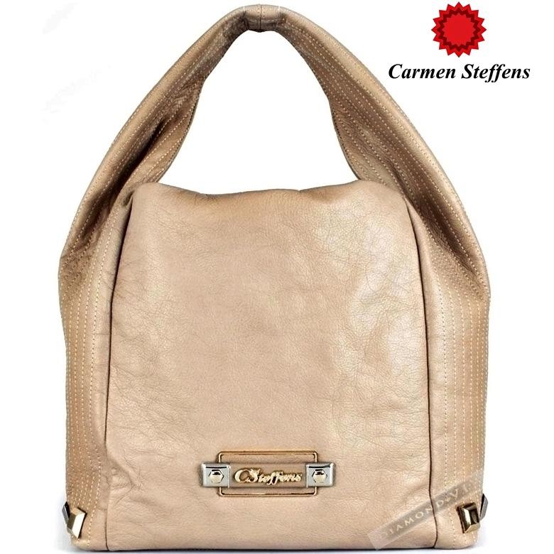 ed08807f38 Original Bolsa Couro Legítimo Bege Carmen Steffens Dourada - R  889 ...