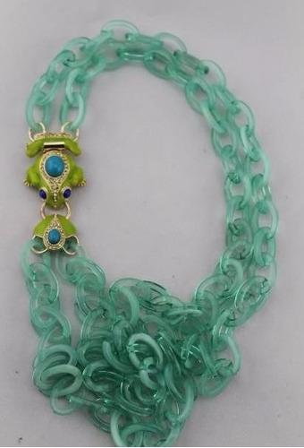 original collar rana esmaltada y cadena lulu frost
