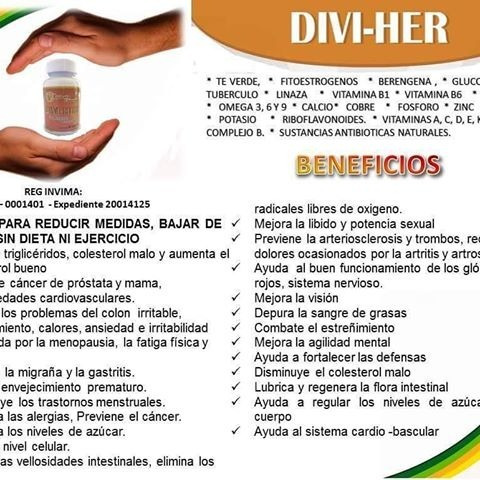 original divi-her, baje de peso reg.invima, gratis 5 pilaten