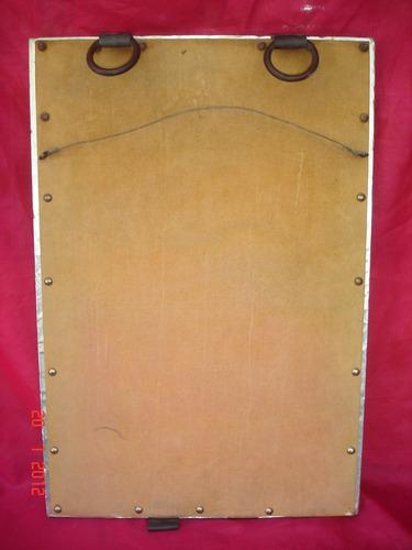 original espejo artesanal metal plateado repujado (3900f)