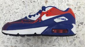 Original Mujer Tenis Nike Air Max 90 Essential Azul Con Rojo Cha Tenisshop