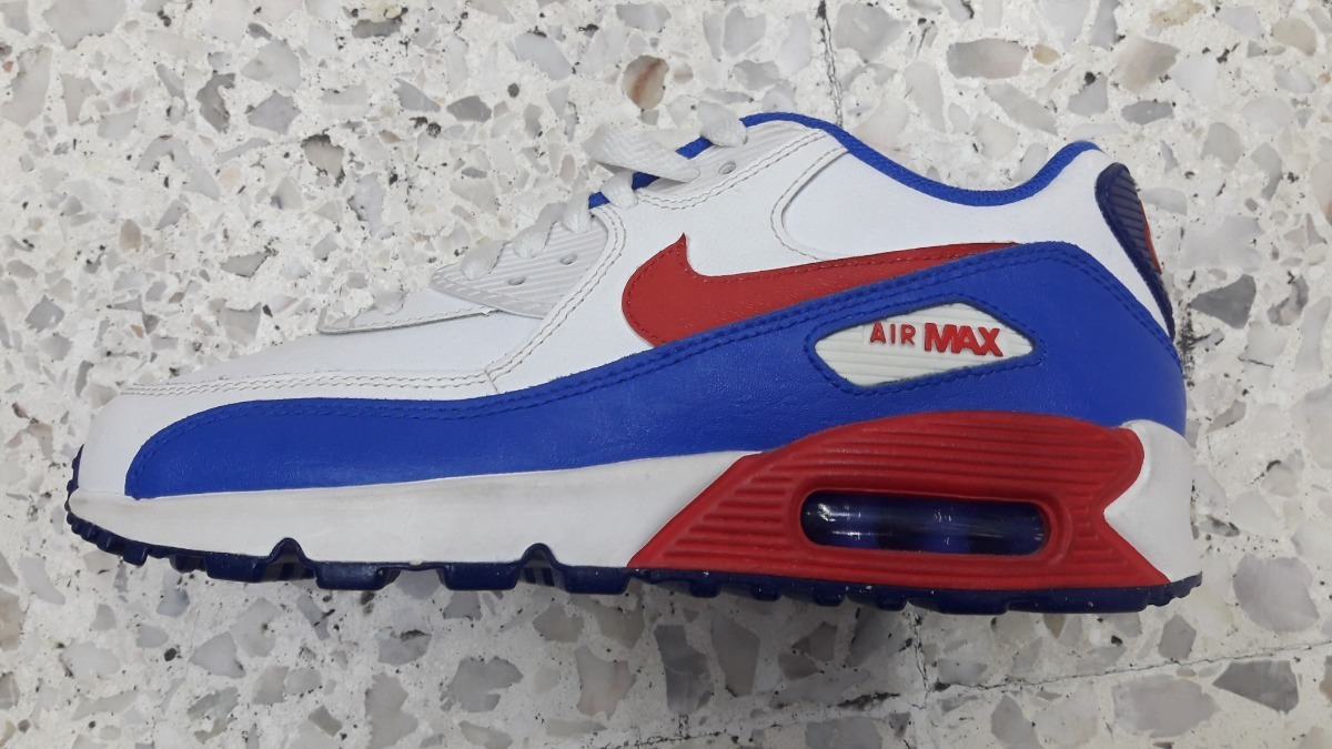 Original Mujer Tenis Nike Air Max 90 Essential Blanco Y Azul Cha Tenisshop