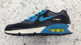 Original Mujer Tenis Nike Air Max 90 Essential Negro Azul Cielo Cha Tenisshop