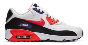 Original Mujer Tenis Nike Air Max 90 Premium Blanco Negro Y Anaranjado Ltv Tenisshop