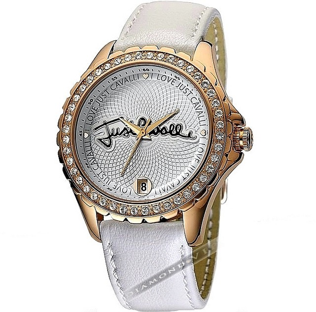 3557fce519ba6 Original Relógio Feminino Dourado Couro Branco Just Cavalli - R  799 ...