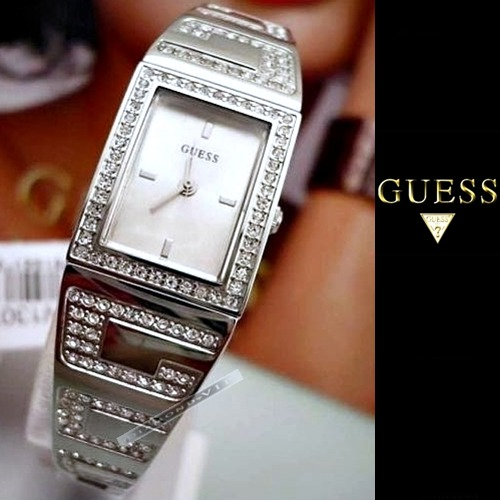 7ba086db2ec Original Relógio Feminino Guess Cristal Swarovski Prata Fino - R  849
