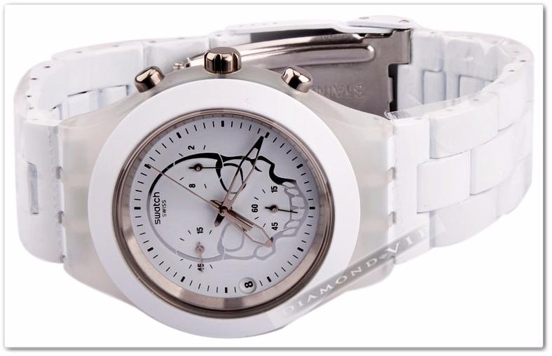 38c4c7ca647 Original Relógio Feminino Swatch Branco Irony Skull Caveira - R ...