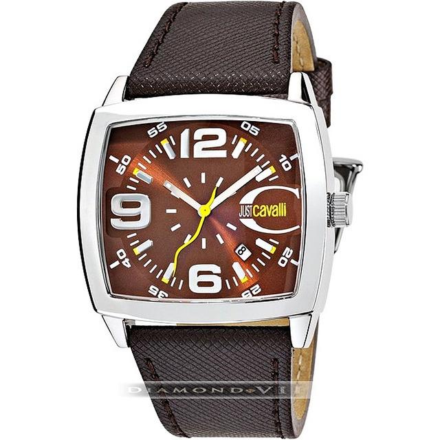 824406b546f7a Original Relógio Masculino Couro Marrom Prata Just Cavalli - R  769 ...