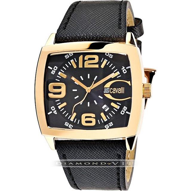 6fb6353db7b1c Original Relógio Masculino Couro Preto Dourado Just Cavalli - R  769 ...