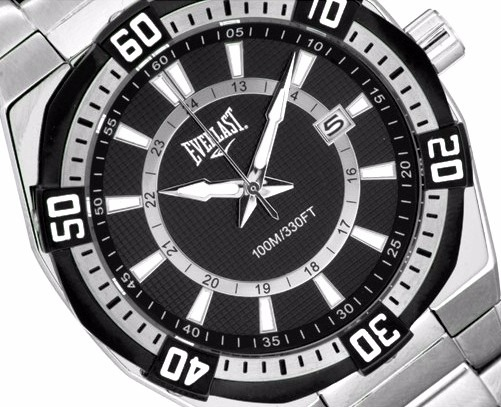 8dd8c660273 Original Relógio Masculino Everlast Prata Preto Esportivo - R  1.159 ...