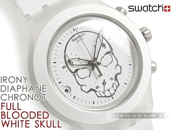 69914e68370 Original Relógio Swatch Masculino Irony Skull Branco Caveira - R ...