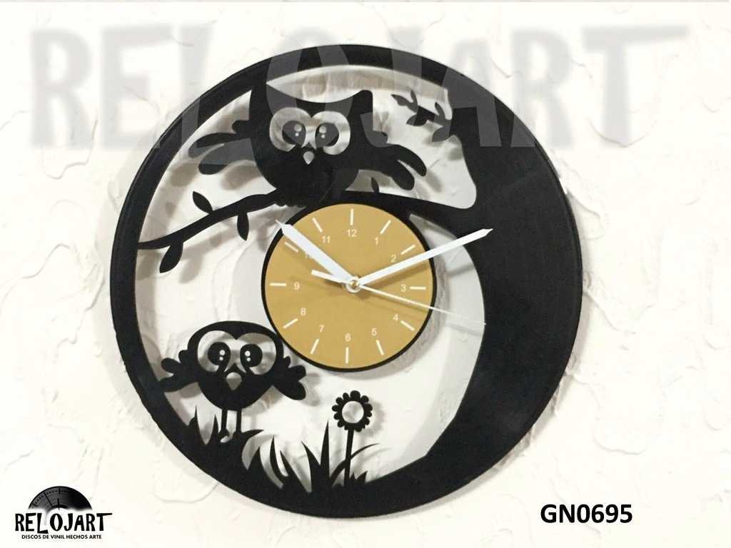 Original reloj de pared disco de acetato lp buhos - Reloj pared original ...
