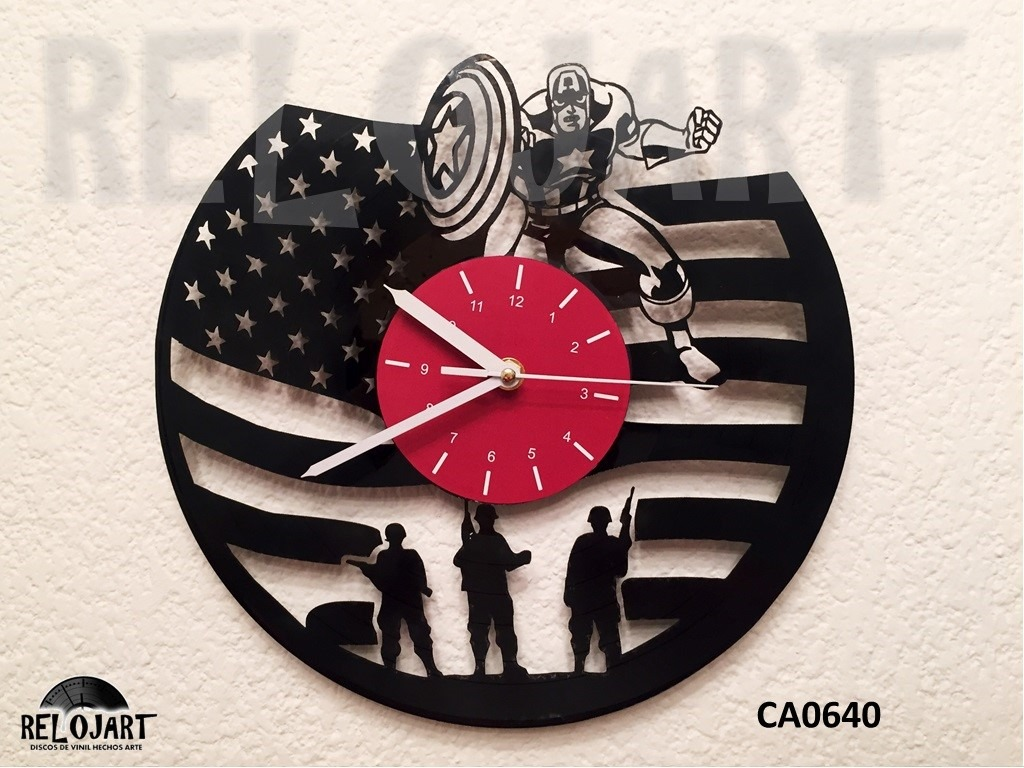 Original reloj de pared en disco de vinil capitan - Reloj pared original ...