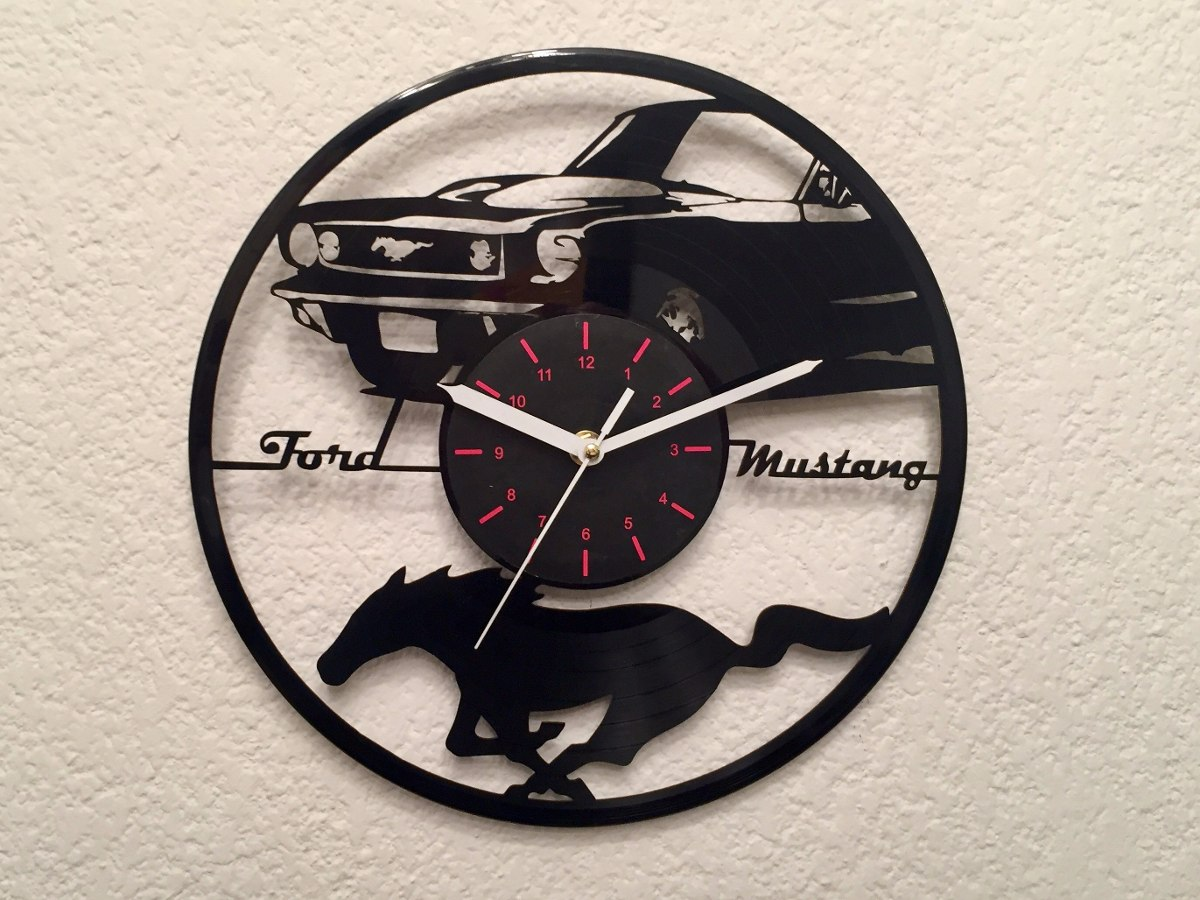 Original reloj de pared en disco de vinil ford mustang - Reloj pared original ...