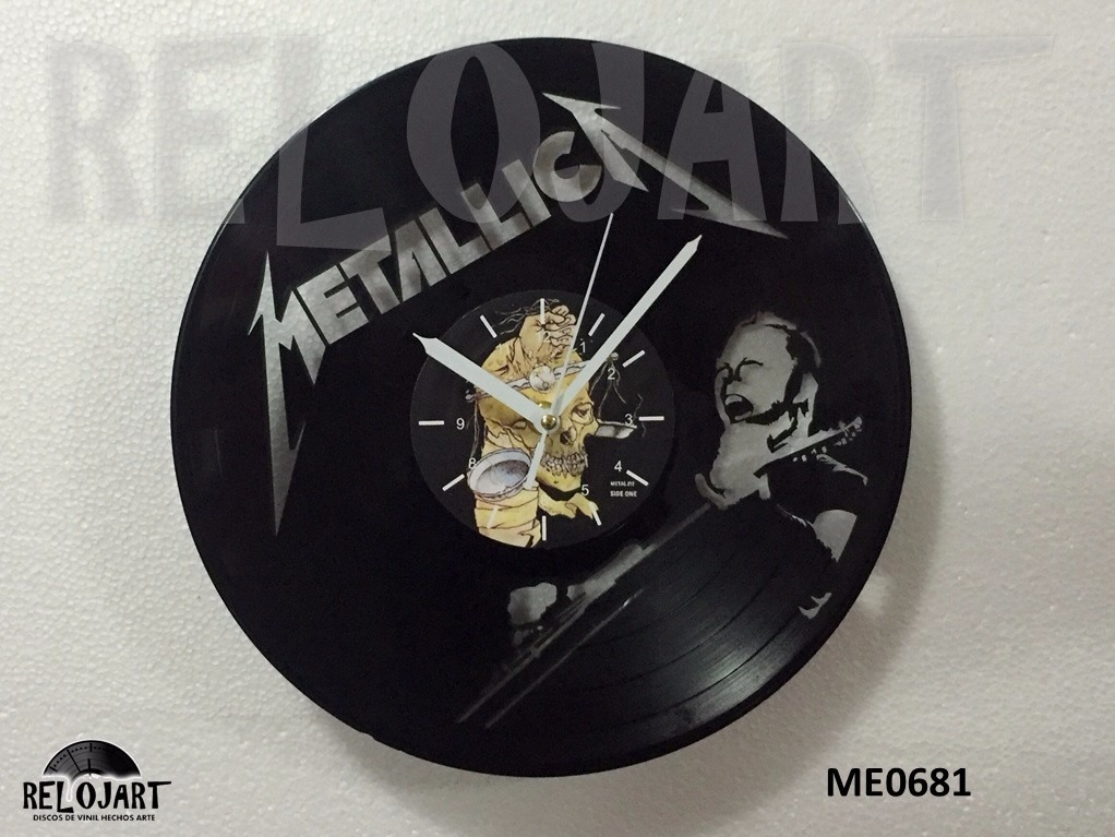 Original reloj de pared en disco de vinil metallica - Reloj pared original ...
