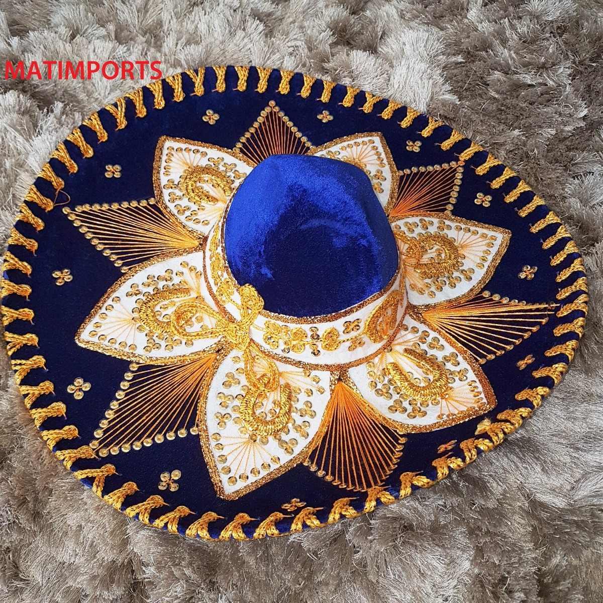 4ccf5e3892200 original sombrero mexicano azul com dourado decoração. Carregando zoom.