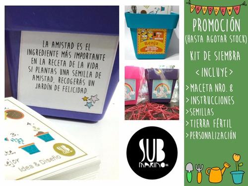 original souvenir kit de siembra jardineria maceta nro 8