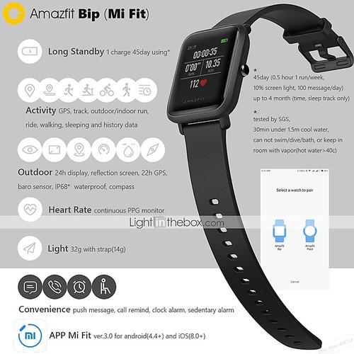 original xiaomi huami amazfit bip smartwatch