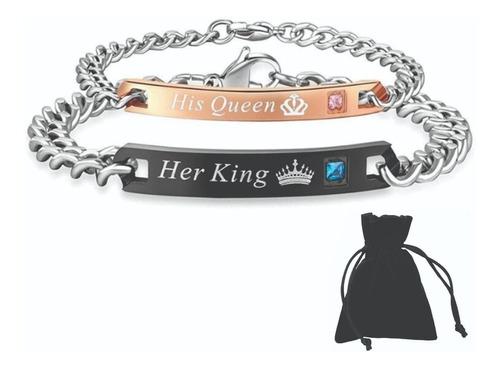 originales pulseras pareja king queen rey reina acero inox
