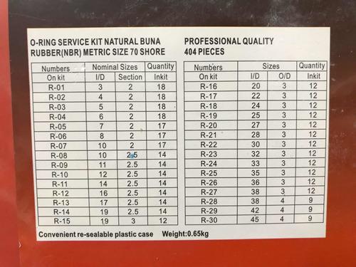 o'rings milimetricos 404 piezas eurotech kit juego set aros