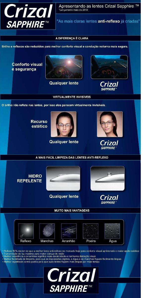 b1bf2b814e14e Orma Crizal Sapphire (pronta Entrega) -500+400x-200 - R  364,90 em ...