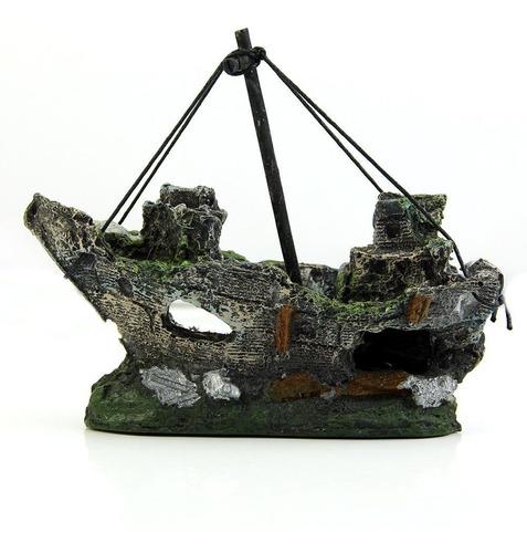 ornamento p/aquário navio naufrágio barco à vela afundado
