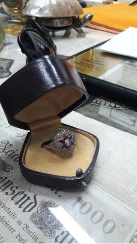 oro 18k  brillantes 0.40 ct rubies 1 ct anillo art deco