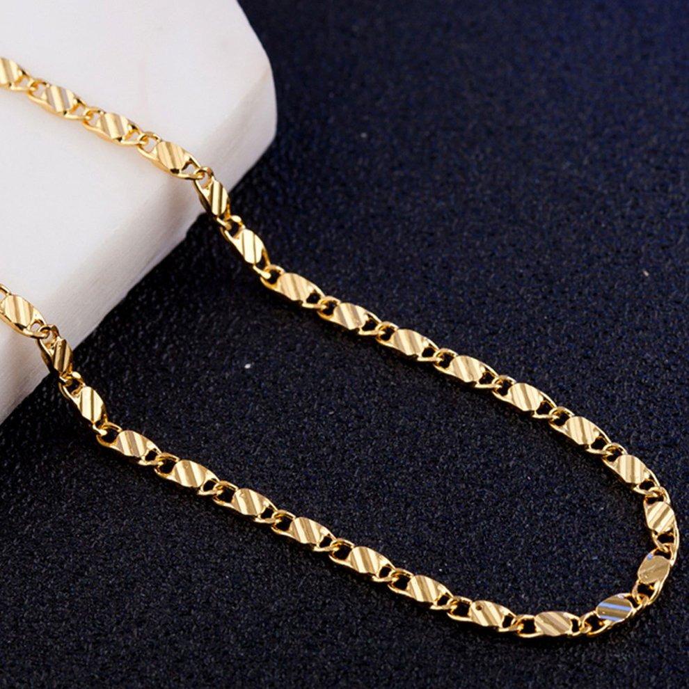 155c754e9571 oro color plano cadena collar para mujeres hombres joyas col. Cargando zoom.
