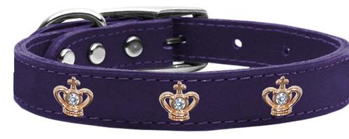 oro corona widget collar perro cuero genuino púrpura 12