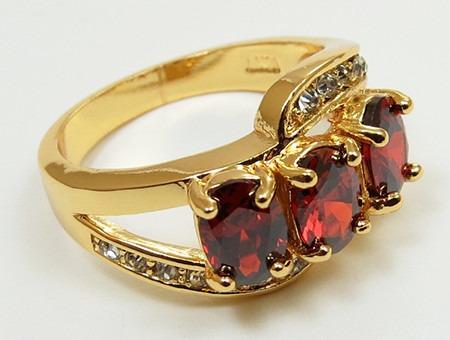 oro granates anillo