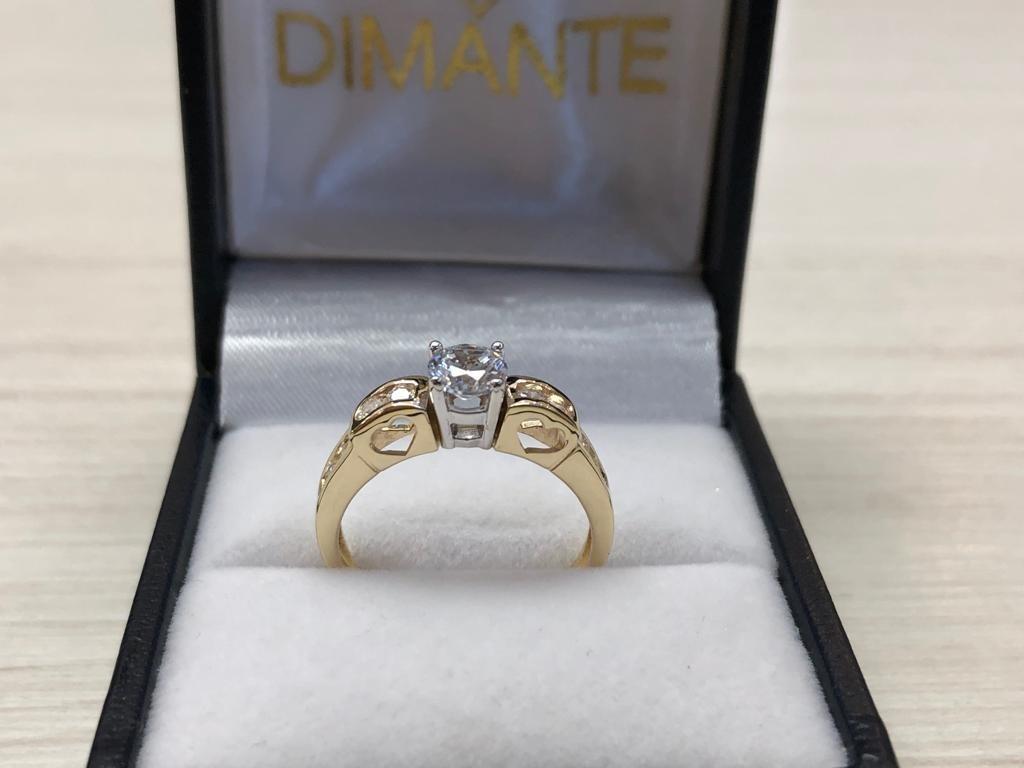 2b341f24f778 Cargando zoom... anillo compromiso oro amarillo 14k zirconia corte brillante