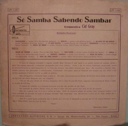 orquestra cid gray -só samba sabendo sambar - lp 3160-mono