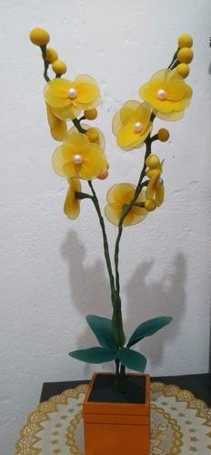 orquídea vaso madeira alaranjado  2 galhos laranja branco
