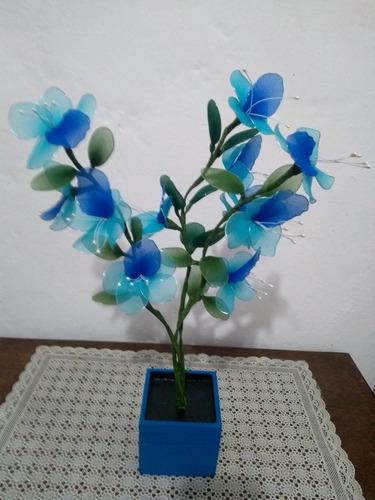 orquídea vaso madeira azul 3 galhos  verde artesanal