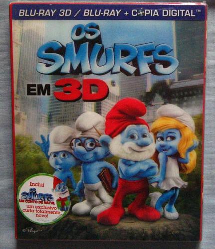os smurfs blu-ray 3d e 2d edição colecionador 2 discos novo