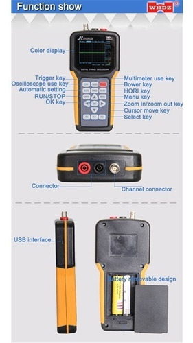 osciloscópio multimetro digital portatil 20mhz miniscope nfe