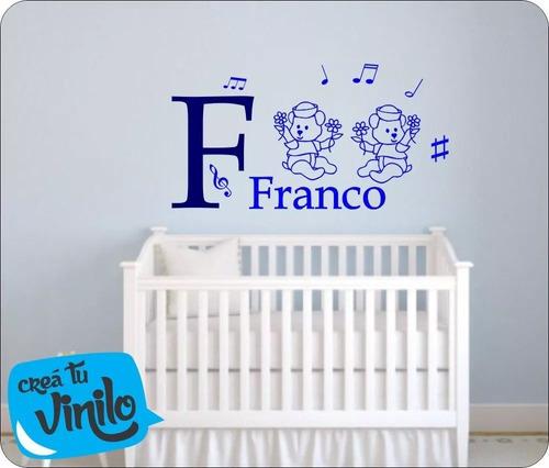 osito vinilo, decoracion cama, cuarto infantil con nombre 2c