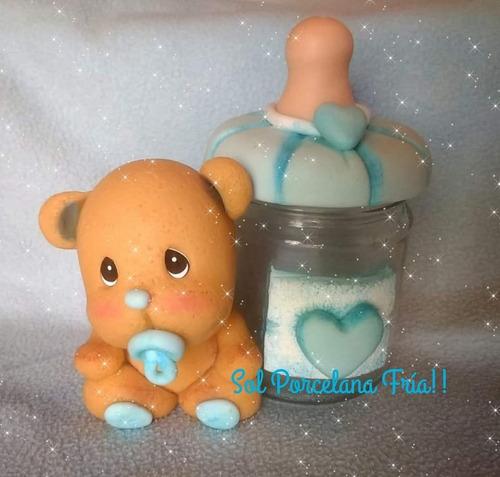 ositos con mamadera(frasco de vidrio forrado en porcelana).