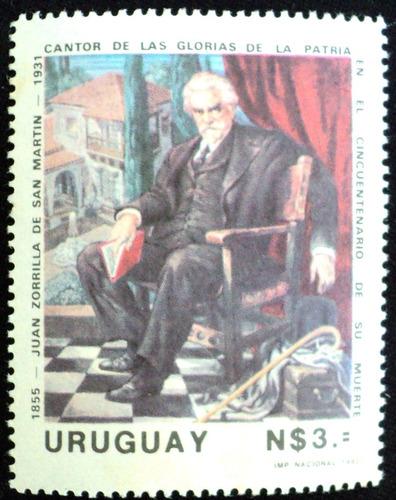 osl sello 1110 mint uruguay  zorrilla de san martin pintura